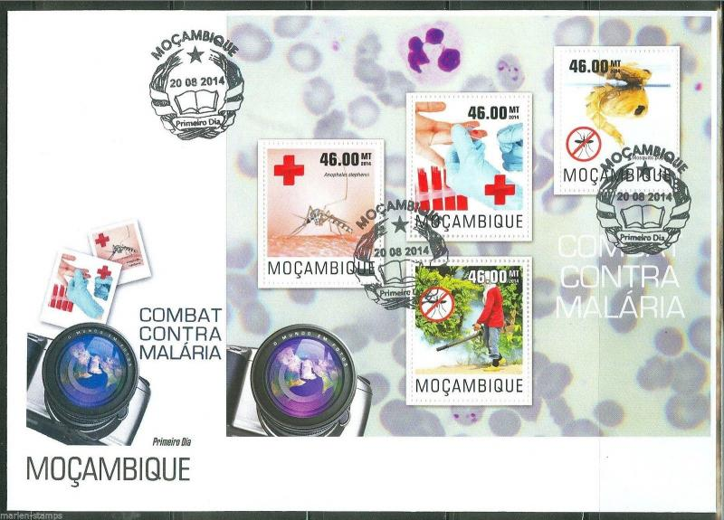 MOZAMBIQUE 2014 BATTLE OF AGAINST MALARIA SHEET FIRST DAY COVER