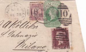 bradford to italy 1878 1 and  ½ penny stamps on cover ref r15254