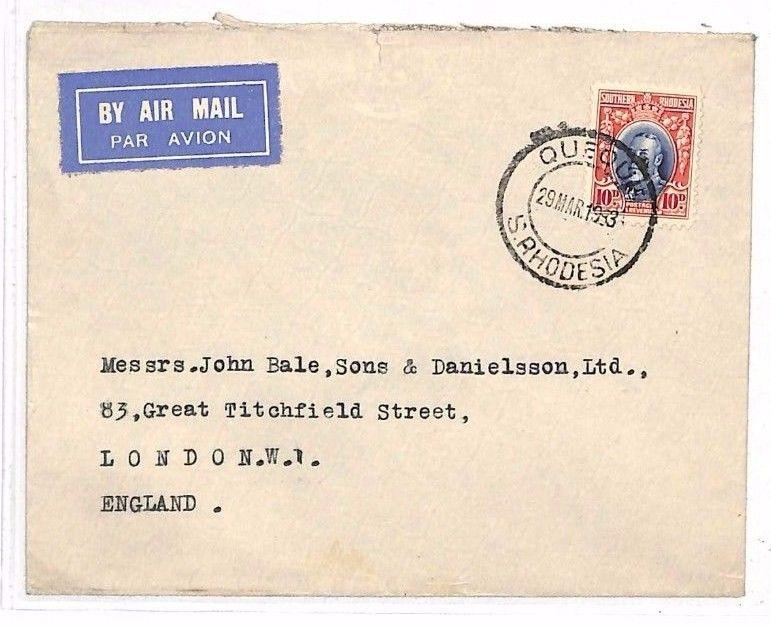 HH66 1933 SOUTHERN RHODESIA AIRMAIL *Queque* CDS Commercial Cover London