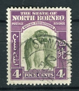 NORTH BORNEO; 1939 early Pictorial issue fine used 4c. value, Postmark