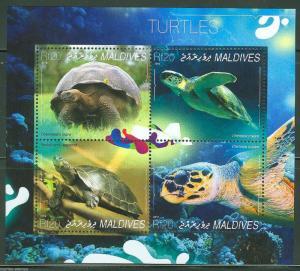 MALDIVES 2014 TURTLES    SHEET MINT  NH