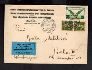 1931 Zurich Switzerland to Prague Czechoslovakia Airmail Cover # C14 Commercial