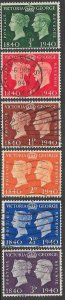 Great Britain 252-257 Used -  King George VI - Centenary of Postage Stamp