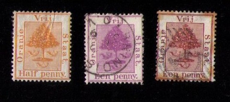 3 Ea Orange Free State Sc 1,3 and 4 Used The Sc 1 is MH WITH A CREASE F-VF