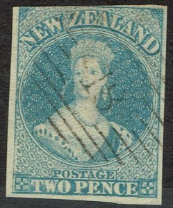 NEW ZEALAND 1857 QV CHALON 2D NO WMK IMPERF USED