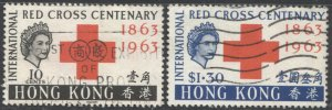 HONG KONG  Sc 219-20, Used, F-VF, 1963  Red Cross set