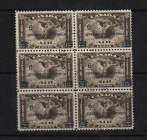 Canada #C4 VF Used CDS Block Of Six
