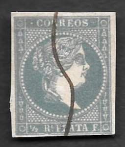 1855, Cuba # 1, Pale Blue Green, Used, Manuscript Cancel, NH, Imperf., 4 margins