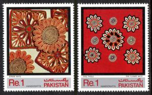 Pakistan 582-583, MNH. Handicraft. Straw mate, Five-flower cloth design, 1983