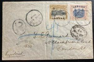 1897 Labuan North Borneo Registered Cover To London England SG#95a