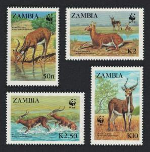 Zambia WWF Black Lechwe 4v SG#537-540 MI#438-441 SC#427-430
