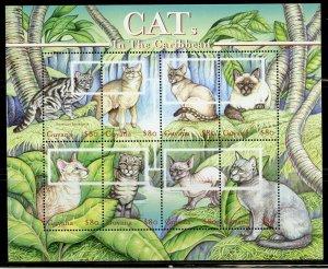 GUYANA CATS IN THE CARIBBEAN SHEET II (8) MINT NH