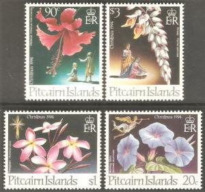 PITCAIRN ISLAND Sc# 411 - 414 MNH FVF Set-4 Christmas Flowers