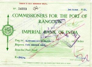 cheque 1952 / india