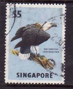Singapore-Sc#69-used $5 pale blue & black-Birds-Sea Eagle-1963-