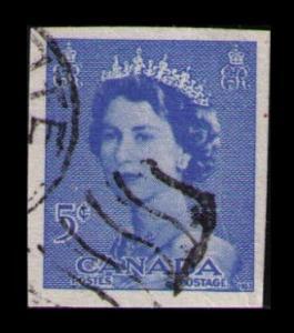 CANADA 1953 POSTAL STATIONERY CUT SQUARE 5c BLUE #U75 (V532)