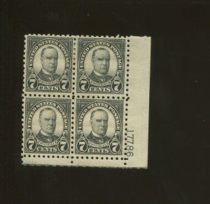 United States Postage Stamp #588 MH VF Plate No. 17786 Block of 4