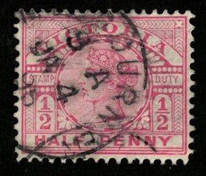 Great Britain 1886-1898 Queen Victoria - Inscription: STAMP DUTY 1/2P (TS-175)