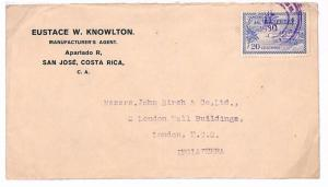 1930 Costa Rica *SAN JOSE* London GB Cover {samwells-covers}PTS S281