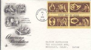 1972, Colonial American Craftsmen, Blk/4, Artcraft, FDC (E7593)