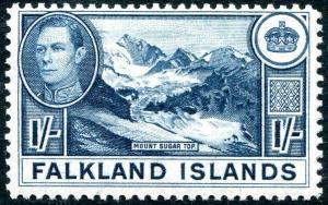 FALKLAND ISLANDS-1938-50  1/- Dull Blue Sg 158b LIGHTLY MOUNTED MINT V30333