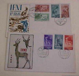 SPAIN IFNI FDC 2 DIFF.  1959-1964 SHEEP,DONKEY,GOAT  CACHET UNADDRESSED