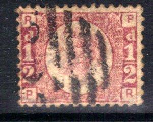 GB 1870 – 79 QV 1/2d Red used Bantam ( P & R ) Plate 8 CV £120 ( G1318 )