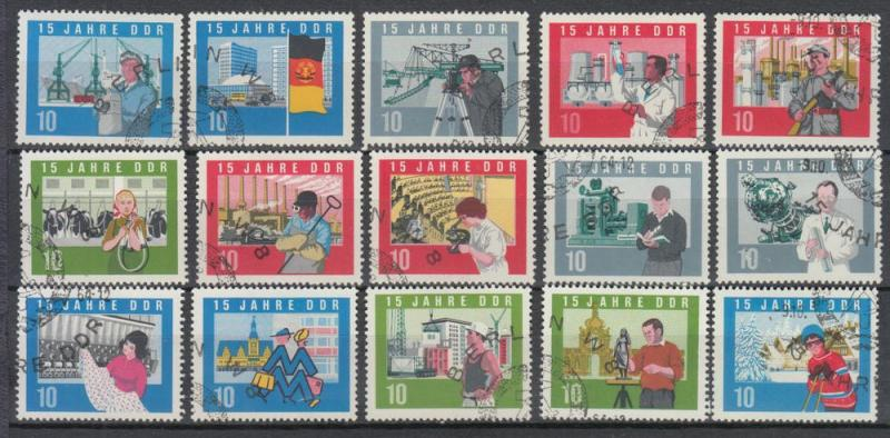 East Germany - DDR - 1964 15th Anniversary Sc# 724/738 (8993)