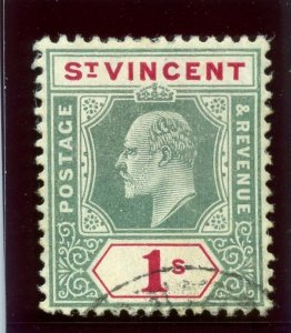 St Vincent 1906 KEVII 1s green & carmine (CH) very fine used. SG 90a. Sc 86.