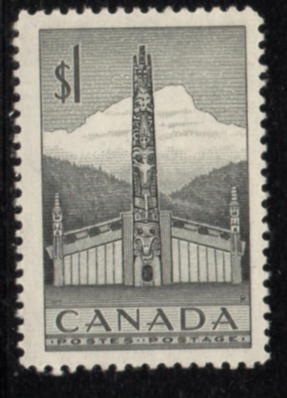 Canada Sc 321 1953 $1 Totem Pole stamp mint NH