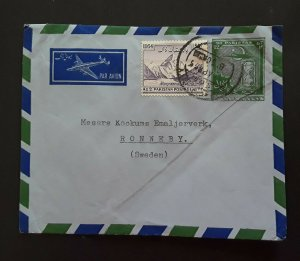 1955 Karachi Pakistan GPO To Ronnery Sweden Air Mail Cover