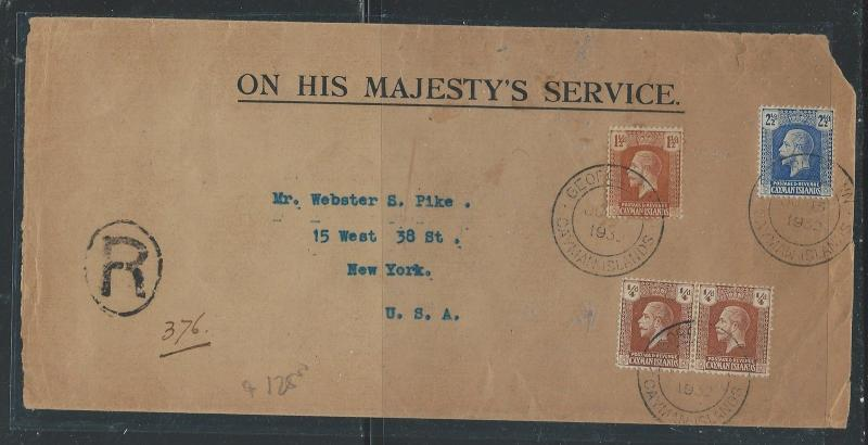 CAYMAN ISLANDS (P0912B) 1932 KGV 1/4DX2+1 1/2D+2 1/2D OHMS COVER TO USA