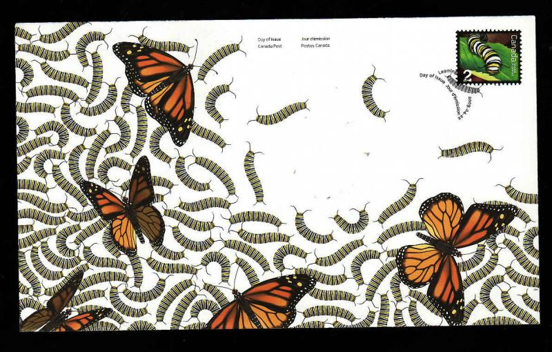 Canada-Sc#2328-stamp on FDC-Monarch Caterpillar-Butterflies-Beneficial Insect-20