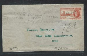 NORTHERN RHODESIA COVER (PP1211B) 1947 KGVI PEACE 1 1/2D COVER SHORT PAID TO USA