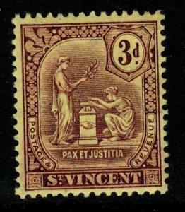 ST.VINCENT SG106 1909 3d PURPLE/YELLOW MTD MINT