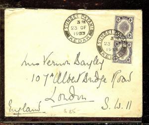 MALAYA KEDAH (P1012B) 1935 4CX2 1933 COVER TO LONDON