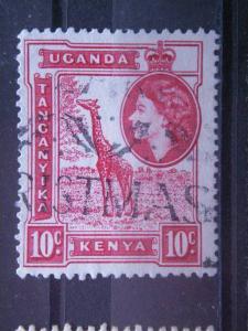 KENYA, UGANDA, TANZANIA,  1954 used 10c , Giraffe, Scott 104