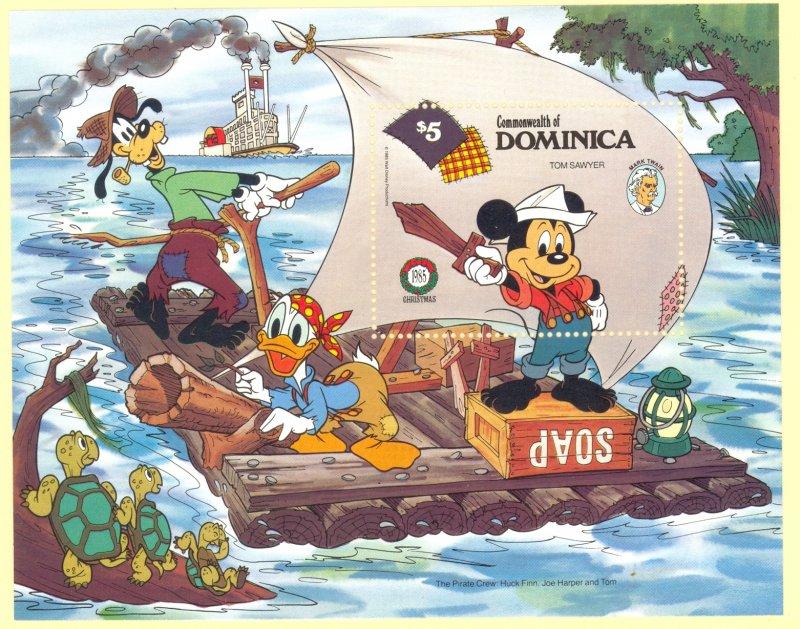 DOMINICA 1985 DISNEY MARK TWAIN Souvenir Sheet Sc 924 MNH