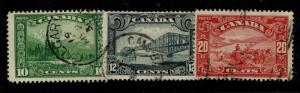 Canada SC# 155-157, Used, 155 small shallow center thin, see notes - S3926