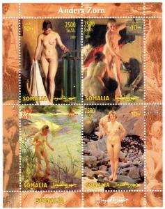 Somalia 2004 Anders Zorn Famous Nudes Paintings Sheetlet (4) Perforated MNH