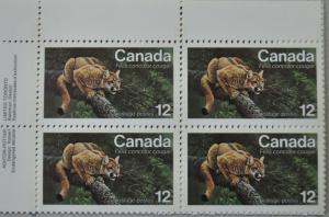 CANADA 1977 Plate Block Stamp  #732 12¢ ENDANGERED WILDLIFE Eastern Couger MNH