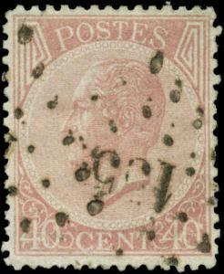 Belgium Scott #21a Used  Perf 14 1/2 x 14