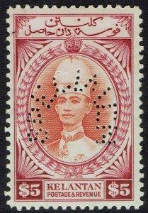 KELANTAN 1937 SULTAN SPECIMEN $5