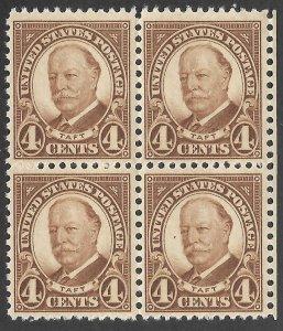Doyle's_Stamps: MNH 1930  4c Pres. Howard Taft Block of Four, Scott  #685**