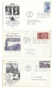 955 957 1247 3 FDCs Mississippi New Jersey Wisconsin Artmaster Grimsland