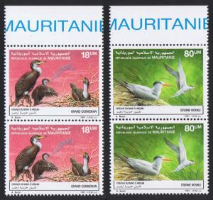 Mauritania Birds Cormorants Terns 2v issue 1988 in pairs with Top Margin