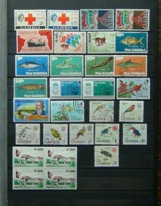 Gambia QE2 range 1966 Birds values to 2/6 Commemorative issues MM or used