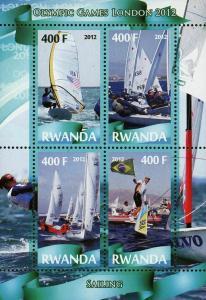Rwanda Sailing Sport Olympic Games London 2012 Souvenir Sheet of 4 Stamps Mint N