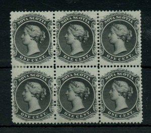 Nova Scotia block of 6 VF 2MNH, 4MH some separation, nice Cat$160 Canada mint