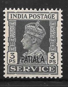 India Patiala O63: 3p George VI, MH, F-VF